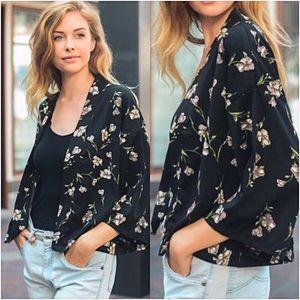 Sweaters - Black Floral Lightweight Cardigan Kimono One Size
